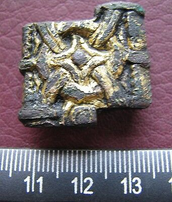 Authentic Ancient Artifact  Viking Bronze-Gilt Belt Mount VK 25
