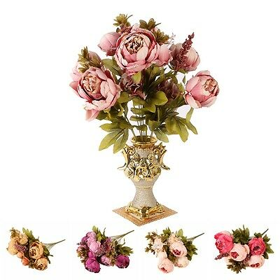Artificial Fake Flowers Leaf Peony Floral Wedding Bouquet Party Christmas Decor
