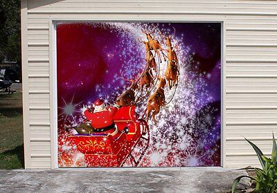 Christmas Decor Single Garage Door Cover New Year Holiday Banner Outside GD108