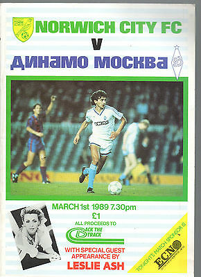 Programme Norwich V Dinamo Moscow Benefit Match For Back The Track 1St March 89