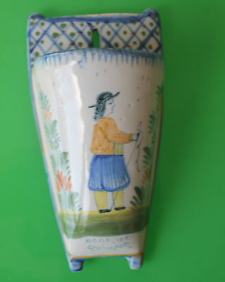 Small Quimper Blue & White Pottery Wall Pocket c.1940