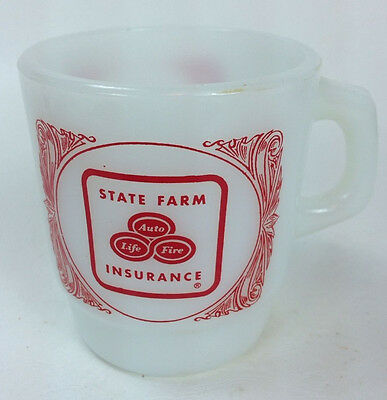Vintage Milkglass Fire King State Farm Coffee Cup / Mug Anchor Hocking