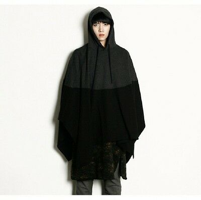 Men's Fashion Hoodie Stitching Cloak Popular Europe Style Cloak Coats Plus Size