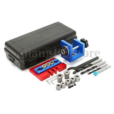 Pocket Hole Jig Kit 6/8/10/15mm Drill Bit Stop Ring Woodworking Drilling Tool AU
