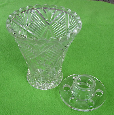 Vintage Crystal or Glass -- Diamond Cut Vase with frog -- Large