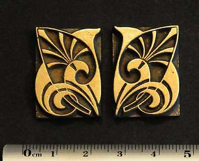 2 x Jugendstil Messing Ornament Buchbinder Prägen bookbinding Art Nouveau Deco