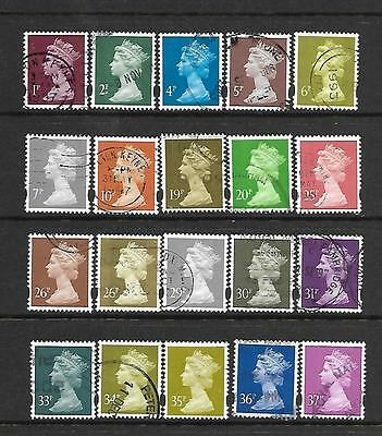 GB (Great Britain) used Machins with eliptical perforation (3 scans)