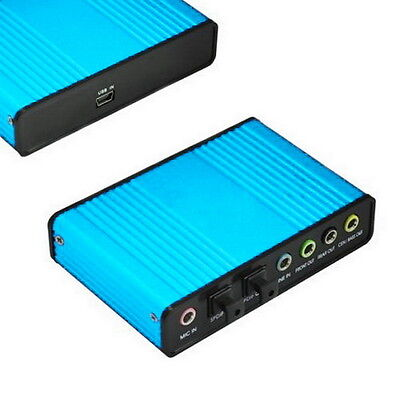 USB 6 Channel 5.1 Audio External Optical Sound Card Adapter For Laptop Skype F1