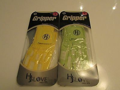 NEW HJ Ladies Fashion Gripper Left Right Both Hand Pair Golf Gloves Green Yellow