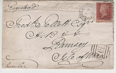 "1860 Registered ""douglas Isle Of Man /407"" Local Cover"