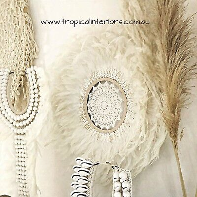 White Boho 60cm Crochet Feather Shell JUJU Hat Plume Handcrafted Wall Hanging