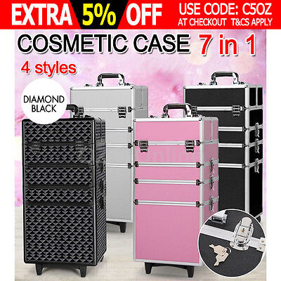 7 In 1 Portable Cosmetics Makeup Case Professional Organiser Trolley Carry Bag