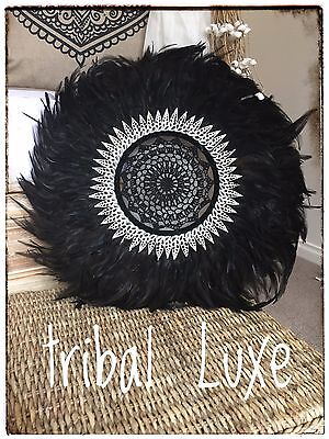 Tribal Black Crochet Feather Shell JUJU Hat Plume Handcrafted Wall Hanging Decor