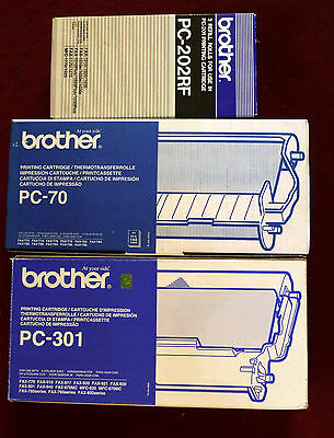 BROTHER PC-202RF + PC-70 + PC-301 = 1 of EACH FAX PRINT CARTRIDGES NEW GENUINE