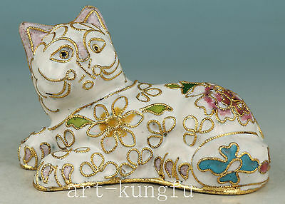 Fine Chinese Old Cloisonne Collection Handmade Carved cat Statue