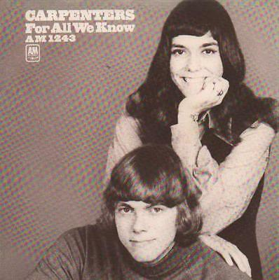 """Carpenters 7"""" vinyl single record For All We Know USA AM-1243-5 A&M 1971"""