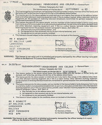 Television Licence Forms - Pair Used 1984/87