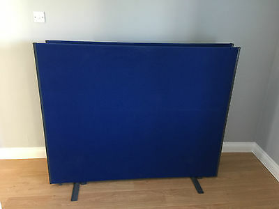Office divider screen floor standing partition panel blue x 2