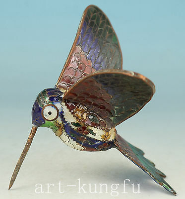 Rare Chinese Old Cloisonne Collection Handmade Carved hummingbird Statue Decor