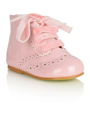 Baby Toddler Girl Spanish Romany Style Patent Pink Boots Shoes by Tia London
