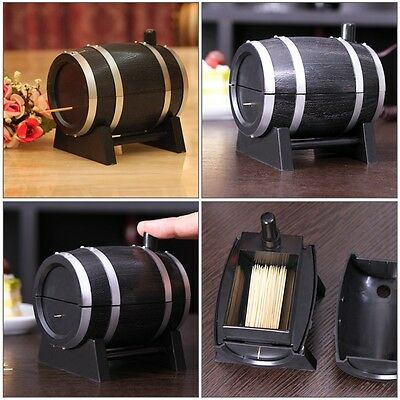 Wine Barrel Plastic Automatic Toothpick Box Container Dispenser Holder BZ