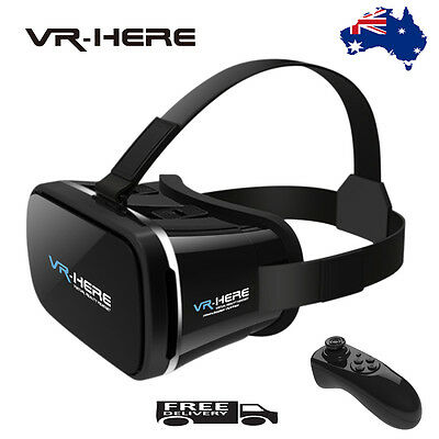 VR HERE 3D Virtual Reality Glasses Headset for iPhone Samsung+Bluetooth Remote