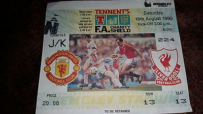 Manchester United v Liverpool Charity Shield match ticket 18/8/1990