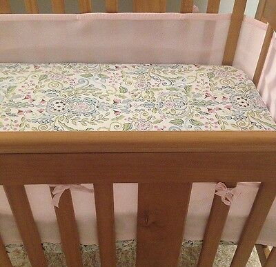 Girls Pink Crib Breathable Bumper By Breathable Baby