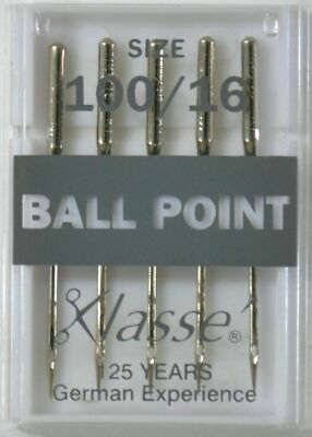 Klasse Sewing Machine Needles, BALL POINT Size 100 / 16, Pack of 5 Needles