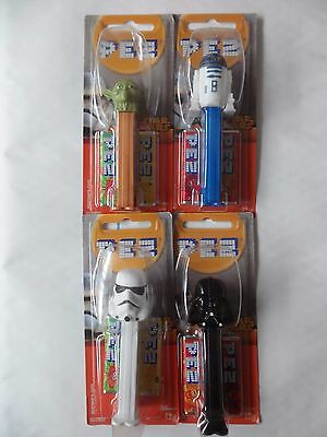 PEZ Disney STAR WARS x 4,   Stormtrooper, R2D2, Yoda and Darth Vader,  BNIP