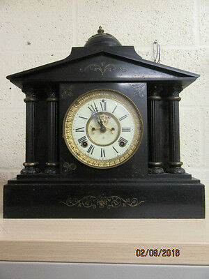 Ansonia Marble Mantel Clock In Working Order  C1900 Visible escapement