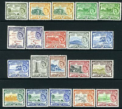 ST KITTS-NEVIS & ANGUILLA-1954-63 Set to $4.80 Including all listed shades Sg 10