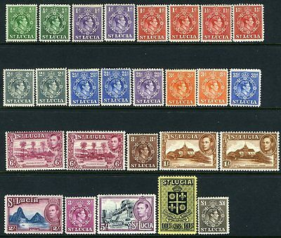 ST LUCIA-1938-48 Set to £1 Including all additional Perf Varieties Sg 128-141