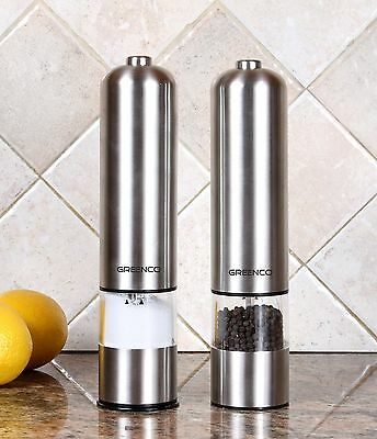 Greenco GRC0211 2-Pack Automatic Electric Pepper Mill and Salt Grinder NEW