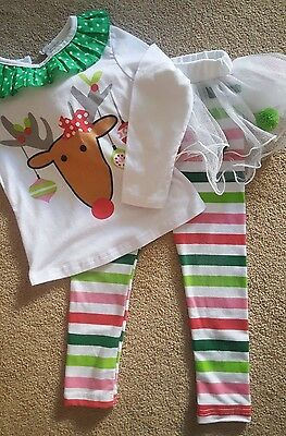 Girls white christmas reindeer outfit with tutu, age 3 - 4 years