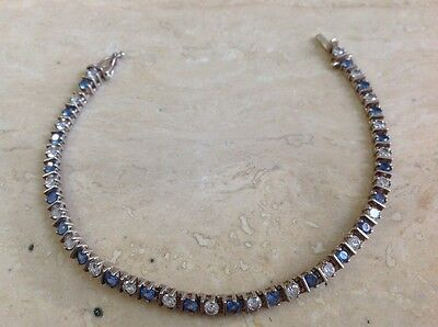 Sterling Silver Blue and Clear Stone Tennis Bracelet.