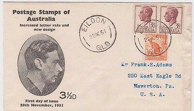 Stamps Australia 1951 pair 3&1/2d brown KGV1 uprated on Rouvre Cox cachet FDC