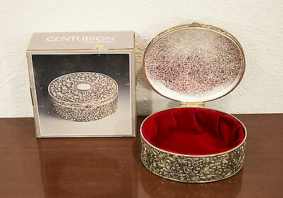Vintage Centurion Silverplated Antique Oval Jewelry Box
