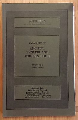 LAC SOTHEBY'S catalogue of ANCIENT ENGLISH AND FOREIGN COINS July 1981