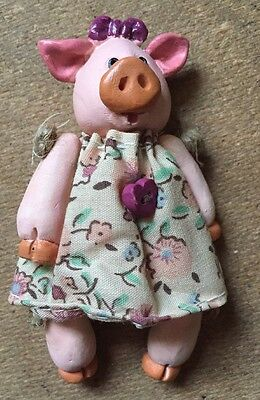 Miniature Clay Pig Doll In Dress By RUSS