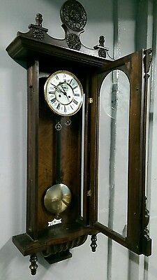 Large antique vienna double weight clock for restoration