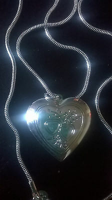 """Wholesale .925 Sterling Silver 20"""" Necklace And .925 Heart Locket & Gift Box."""
