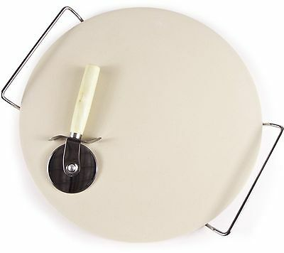 33cm Pizza Stone Baking Set Chrome Stand Serving Tray FREE WOODEN PIZZA CUTTER