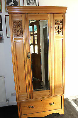 L@@k, Lovely Pine Antique Art Nouveau Hall Armoire/wardrobe With Mirror