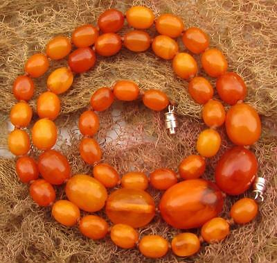 Antique Art Deco  Real Butterscotch Amber Beads Necklace 33g