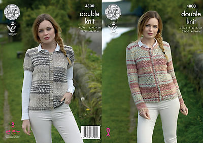 Knitting Pattern Womens Lace Long or Capped Sleeve Cardigans King Cole DK 4800