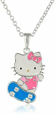 Girls Hello Kitty Silver-Plated Skateboard Pendant Necklace, 18""