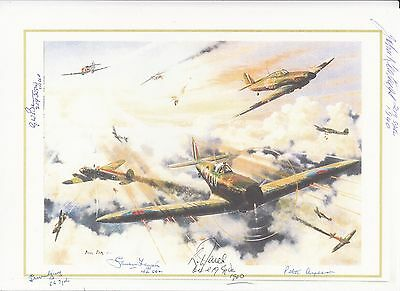 Coloured Print Card Signed 6 Battle of Britain Pilots