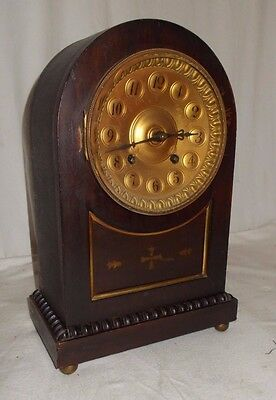 ANTIQUE Arch Topped MANTEL Clock With Chime BRASSED Dial DATED To 1885 VICTORIAN