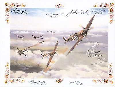 Coloured Print ( on Paper)  Signed 6 Battle of Britain Pilots